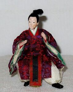 """Antique Japanese Semi-Seated 5 3/8"""" Male Attendant Hina Doll BH7#AD4161415.8"""