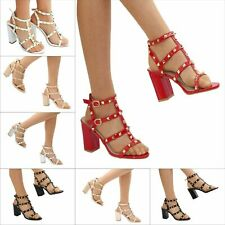 8a48ec22430e3b New Ladies Ankle Strap Studded Party Bock heel Sandals Size 345678