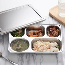 Eco Lunchbox Stainless Steel Divided Lunch Food Serving Bento Box Tray Cover Set