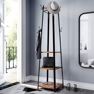 180cm Solid Iron Construction Coat Rack Entryway Clothes Stand Shelves Holder AU