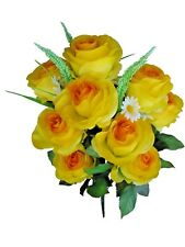 "Yellow Emperor Rose 23"" Tall Bush Flower Home Wedding Bridal Office Decor"