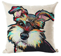 MINIATURE SCHNAUZER Cushion Cover! Watercolour Dog Art Linen Pillow 45cm Gift