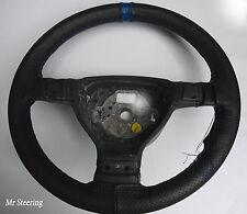 Para Honda Civic Negro De Cuero Perforado + Correa Azul cubierta del volante 92-05