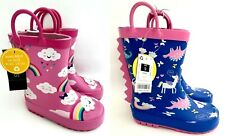 NEW Baby Younger Girls Pink Rainbows Unicorns Rubber Wellington Boots Wellies