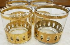 Culver Antigua 22KT Gold Old Fashioned Rocks 4 Glasses Excellent Condition