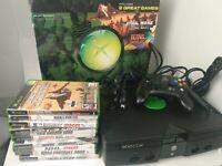 Microsoft Xbox Original Console Bundle w/ Games and Original Box Tested