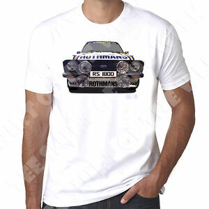 Ford Escort Mk2 Rs1800 Rothmans Rally t shirt Personalised number plate option