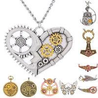 New Vintage Women Men Punk Jewelry Machinery Gear Pendant Necklace Choker Chain