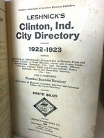 Vtg 1922-23 CLINTON Indiana CITY / Street / Business DIRECTORY Names Info Ads ++