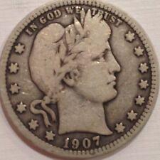 1907-S Barber Quarter Dollar 90% Silver Coin 1907S
