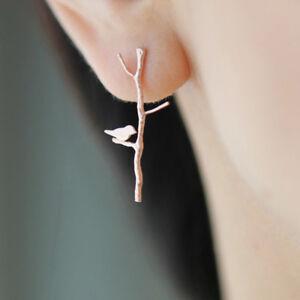 Simple Style Punk Leaf Bird Shape Earrings Ear Trendy Women Trinket Gift C