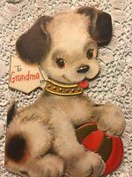 Vintage Birthday Card Hallmark Diecut Puppy Dog Grandma Black White Ball Gold