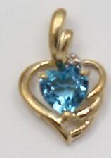 10k Yellow Gold Diamond and Blue Topaz Heart Ladies Pendant