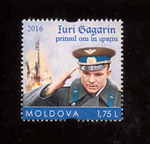 Moldova 2016 Space Gagarin 1v** MNH personalized stamp