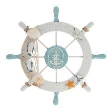 Nautical Wood anchor Boat Ship Steering Wheel Fishing Net Home Party Wall Decor