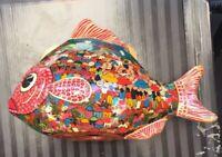 Vintage Mexican Tonala hand-painted pottery bird and fish Folk Art.
