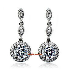 W Gold Plated Made with Swarovski Crystal Dangle Round Drop Wedding Earring XE19