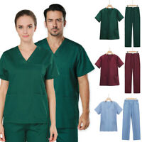 Womens Mens Work Suit Doctor Nurse V-Neck Uniform Shirt Top Long Pants Set 2PC