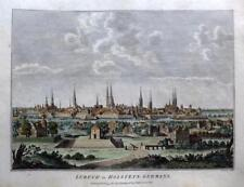 LUBECK  GERMANY  COPPER ENGRAVING WITH HAND COLOUR  GENUINE ANTIQUE c1784