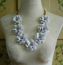 Floral Rose Statement Necklace White Rhinestone Acrylic Long Gold Tone Chain