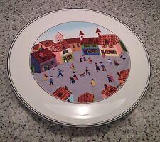 "VILLEROY & BOCH Luxembourg DESIGN NAIF 11 5/8"" CAKE PLATE Village Scene"