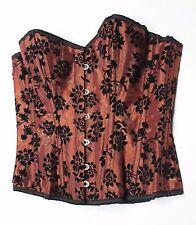CORSETS UK authentic steel-boned brown flock overbust corset sz 36 UK 18 BNWT