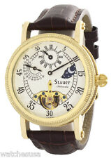 Stauer Mens Silver  Dial Brown Leather Strap Automatic Watch 20317