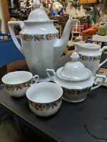 J S Porcelain Tea Pot, Creamer, Sugar Bowl And 2 Cups
