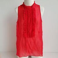 BCBG Max Azria Sheer Sleeveless Blouse Womens M Ruffle Red High Low Hem