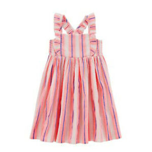NEW CARTER'S neon pink ruffle straps DRESS crinkle gauze blue stripes GIRL m 8