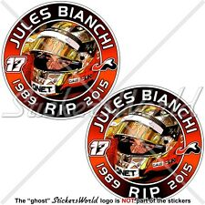 JULES BIANCHI RIP Formel 1 Automobilrennfahrer 75mm Vinyl Aufkleber, Sticker x2