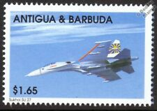 SUKHOI Su-27 FLANKER (Russia) Fighter Aircraft Mint Stamp (1998 Antigua)