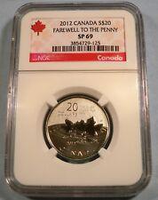 2012 CANADA $20 SILVER MAPLE LEAF FAREWELL PENNY MS SP 69 .9999 FINE SILVER COIN