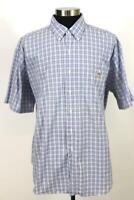 mens blue white plaid RALPH LAUREN casual dress shirt cotton crest modern XXL