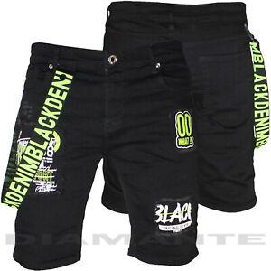 Bermuda Jeans uomo Denim nero pantaloncini strappati elasticizzati nuovo 78357