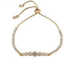 New 9CT Gold Filled  Expendable Tennis   Bracelet Round Cut Clear  CZ  B438