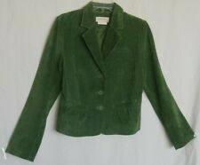 Bloomingdale's Womens Size 12 Green Genuine Suede Leather Button Up Jacket Coat