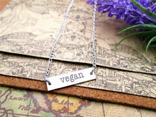 "Stainless Steel ""VEGAN"" Vegetarian Necklace Pendant Charm On Chain Unisex"