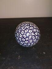 19th Century Ceramic Carpet Ball Blue & White Victorian Era
