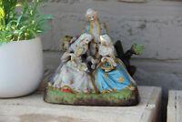 Antique german porcelain romantic victorian group statue figurines