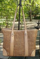 FRYE Melissa Woven Leather Shopper Tote Natural Brown BEAUTIFUL! NWT