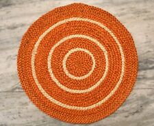 Braided Jute Orange Door Mat Small Home Decor Round Carpet DN-2022
