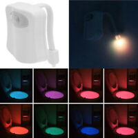 LED NIGHT LIGHT 8 COLORS CHANGE MOTION ACTIVATED HOME TOILET BOWL BATHROOM LAMP