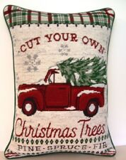 Christmas- Red Pick-up Truck, Tree, Words, Red & Green Plaid Tapestry Pillow New
