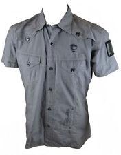 Camicie casual e maglie da uomo grigie aderente con colletto