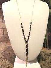 Gorjana Power Stone Semiprecious Stone Necklace Black And Gold Tone