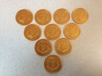 Air Force Reserve Command GOLD Tokens Coins Above And Beyond Lot of 10 Tokens