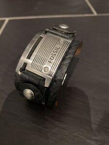 Fossil Herren-Armband JF84816040 Leder Edelstahl Schwarz Silber Vintage 25 cm