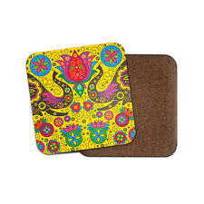 Indian Elephant Pattern Coaster - Boho Lotus Flower Colourful Mum Gift #15348