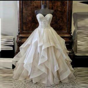 UK White Ivory Champagne Sweetheart Organza A Line Wedding Dresses Size 6-20